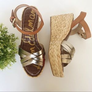 NWT SAM EDELMAN Leather Platform Wedge Sandals